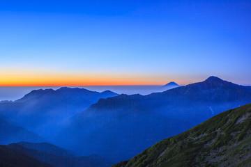Dawn of Mt. Fuji and Mt. Kitadake