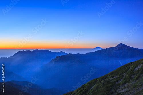 Foto op Plexiglas Japan Dawn of Mt. Fuji and Mt. Kitadake
