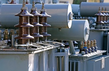 voltage transformers in a landfill of electrical equipment