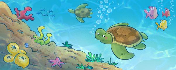 tortuga en fondo marino