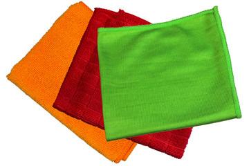 microfiber cloth, orange, green, red