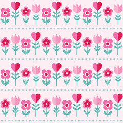cute pink pattern with flowers and hearts