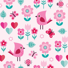 cute pink pattern with birds and flowers