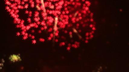 beautiful hexagon Snow fake bokeh of colorfull fireworks