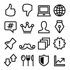 Web menu navigation line icons - social media, technology