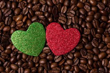 Зеленое и красное сердце