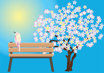 Bird, benches and flowering trees