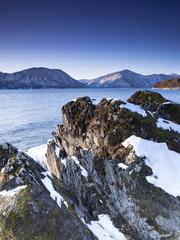 Winter dawn. Lake Teletskoye, Altai Republic, Russia