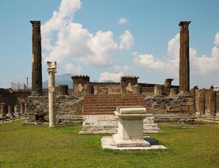 Ancient ruins of Pompei with volcano Vesuvius, Italy