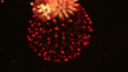 beautiful hexagon Star bokeh of colorfull fireworks display