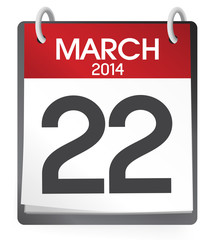 Twenty Second March 2014 Calendar Concept
