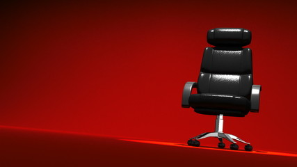 Spotlighted Business Chair On Red Text Space