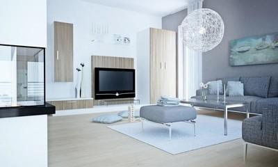 Wohnzimmer in Grautönen