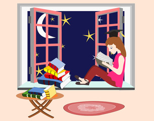 Girl student studying at night sitting on the windowsill