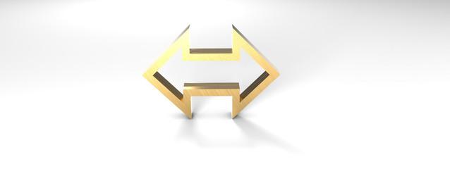 Doppelpfeil Oben Unten Gold 3D