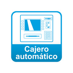Etiqueta app abajo azul Cajero automatico