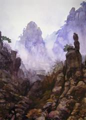 Вершины гор в тумане