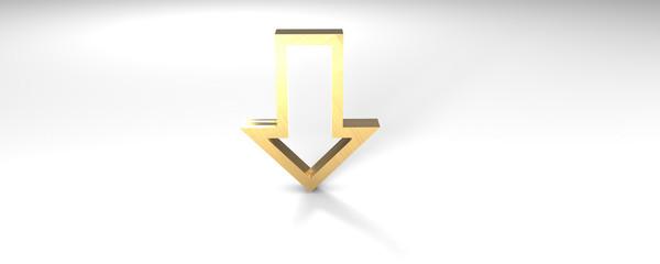 Pfeil unten Gold 3D