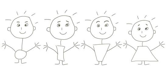 skizzen zeichnung figuren strichmännchen