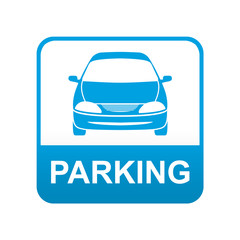 Etiqueta app abajo azul PARKING automovil