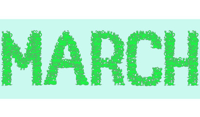 vector illustration on word March of green cats