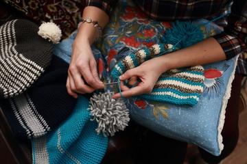 woman crochet beanie warm wool