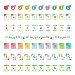 植物の飾り枠 数字アイコン / vector eps10
