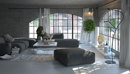 Modern living room interior with arched windows