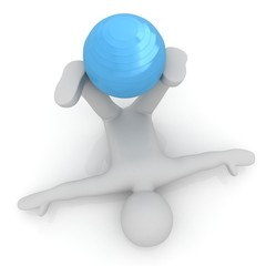 3d man exercising position on fitness ball. My biggest pilates s