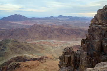 Egypt, rocky wilderness of Sinai mountains