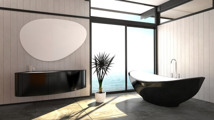 Modern elegant boat-shaped black bathtub