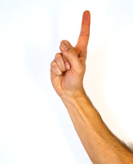 Man pointing upwards with his index finger