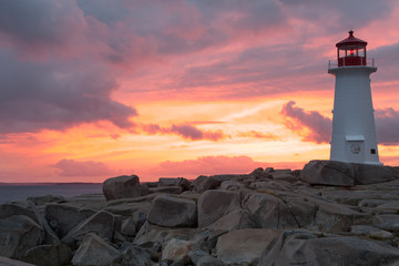 Peggys Point Lighthouse at sunset, Nova Scotia