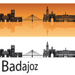 Badajoz skyline in orange background