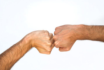 Two orientations of a man with a clenched fist