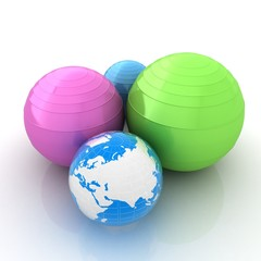 Pilates fitness ball and earth