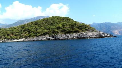 Panorama of coast landscape of mediterranean sea turkey