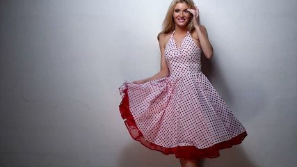 Pretty Blond Woman in Red Pink Cocktail Dress