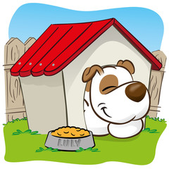 mascot dog sleeping in the yard in his doghouse