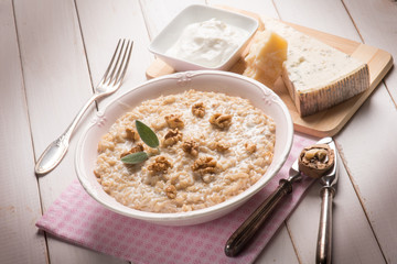 risotto with gongorzola nuts and cream sauce