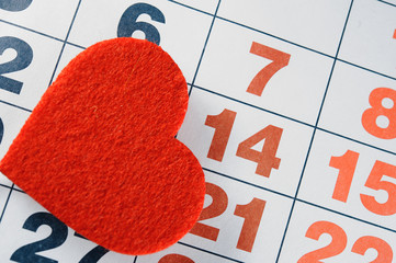 calendar, Valentine's day, heart from red felt