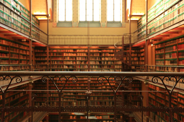 Large old Dutch library in the Rijksmuseum in Amsterdam