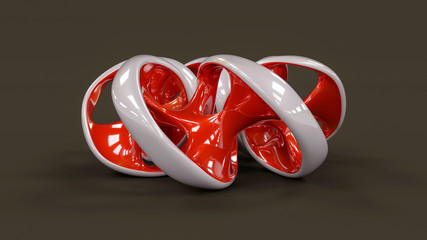 Endless twisted torus jewel - 3D concept illustration