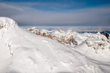 Dolomites aerial sky view landsacape panorama