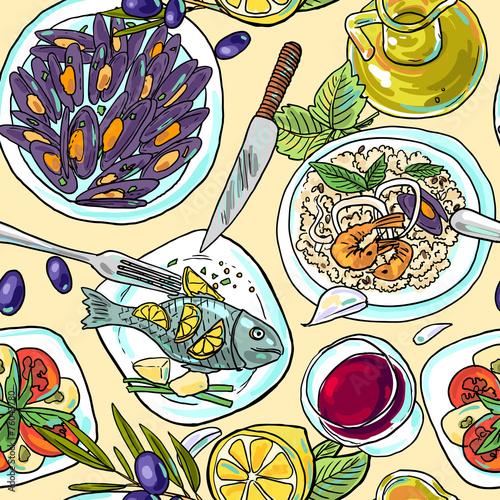 simpless hand-draw pattern mediterranean food - 76043780