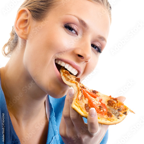 canvas print picture Woman eating pizza, over white