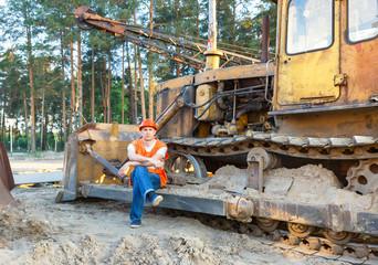 Portrait of driver  construction equipment