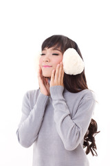 happy, smiling, joyful woman with earmuffs