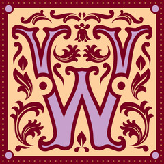 vector image of letter W in the old vintage style