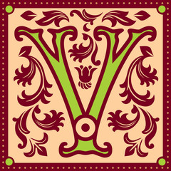 vector image of letter V in the old vintage style